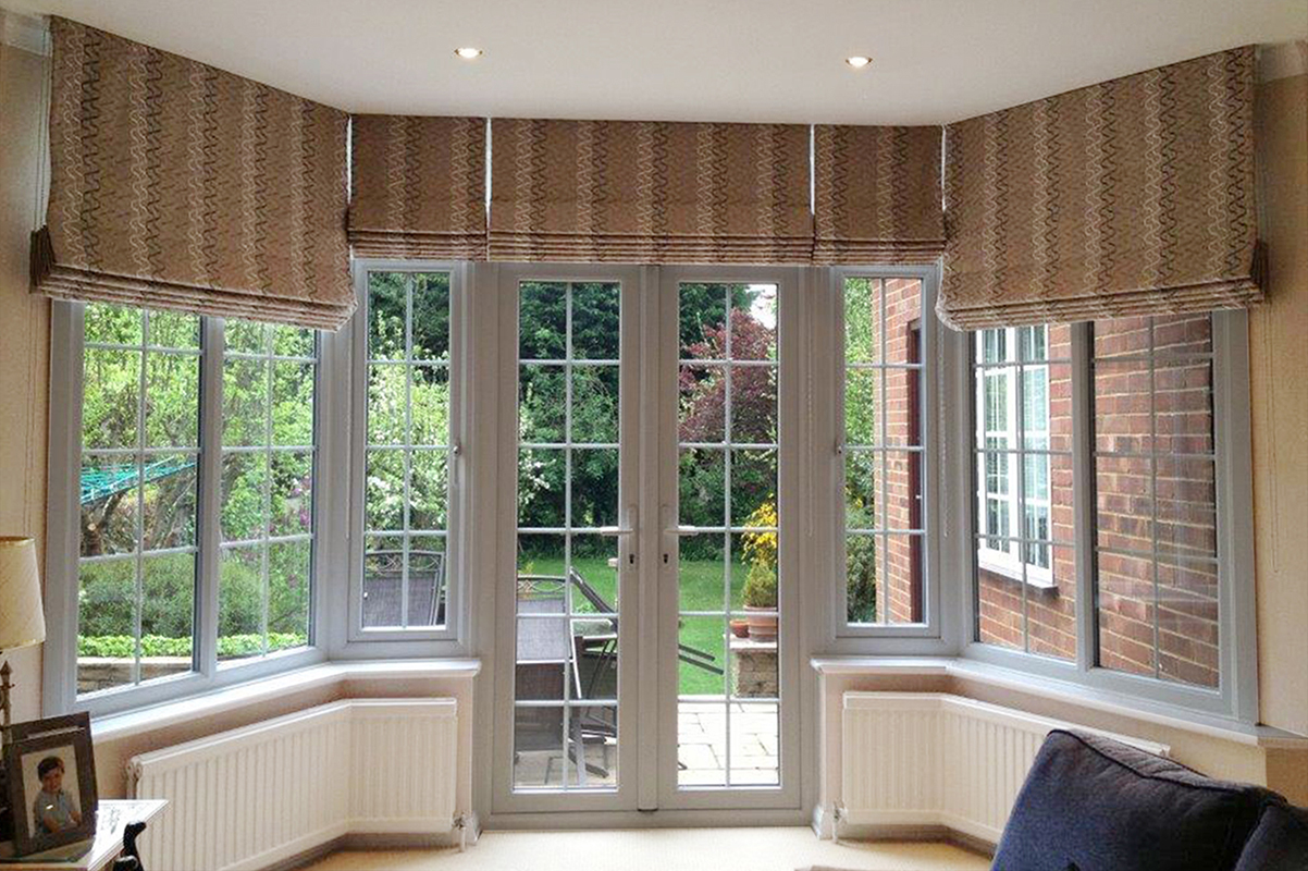 All blinds mary clarke for Roman shades for bay windows